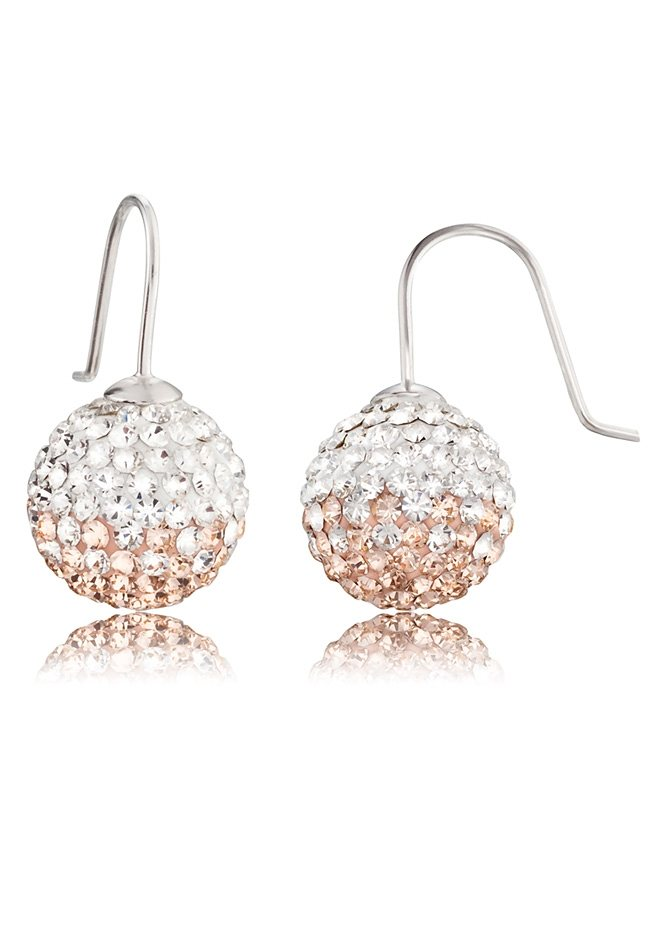 Engelsrufer,Paar Ohrhaken »Crystal Ball rosé/weiß, ERE-16-ZI« in Silber 925/rosé/weiß