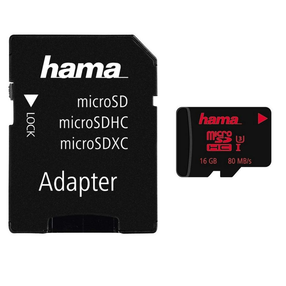 Hama microSDHC 16GB UHS Speed Class 3 UHS-I 80MB/s + Adapter/Mobile in Schwarz