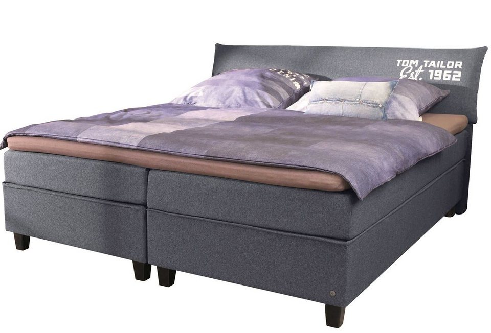 TOM TAILOR Boxspringbett »COLOR BOX«, Struktur, mit »TOM TAILOR« Print, Überlänge 220 cm in dark grey NTBO 9