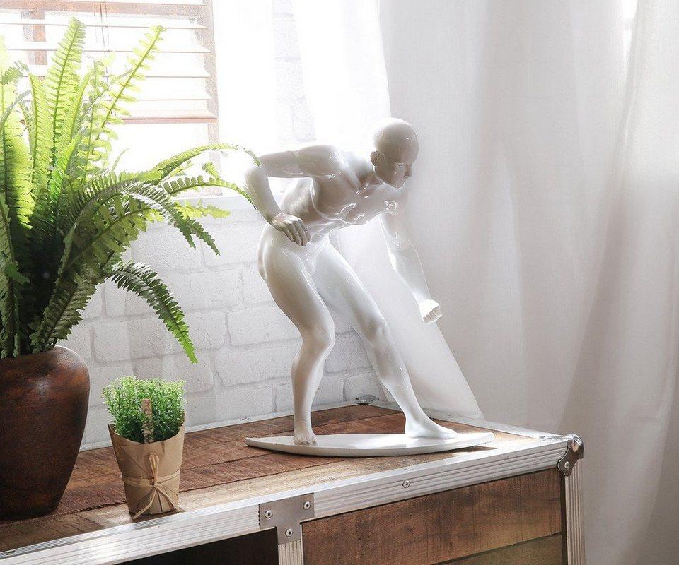 DELIFE Dekofigur Surfer Weiss 33x41 cm Hochglanz Skulptur in Weiß