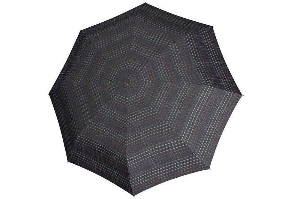 Knirps Regenschirm mit Holzgriff, »Topmatic SL Crook - Karo Schwarz« in bunt