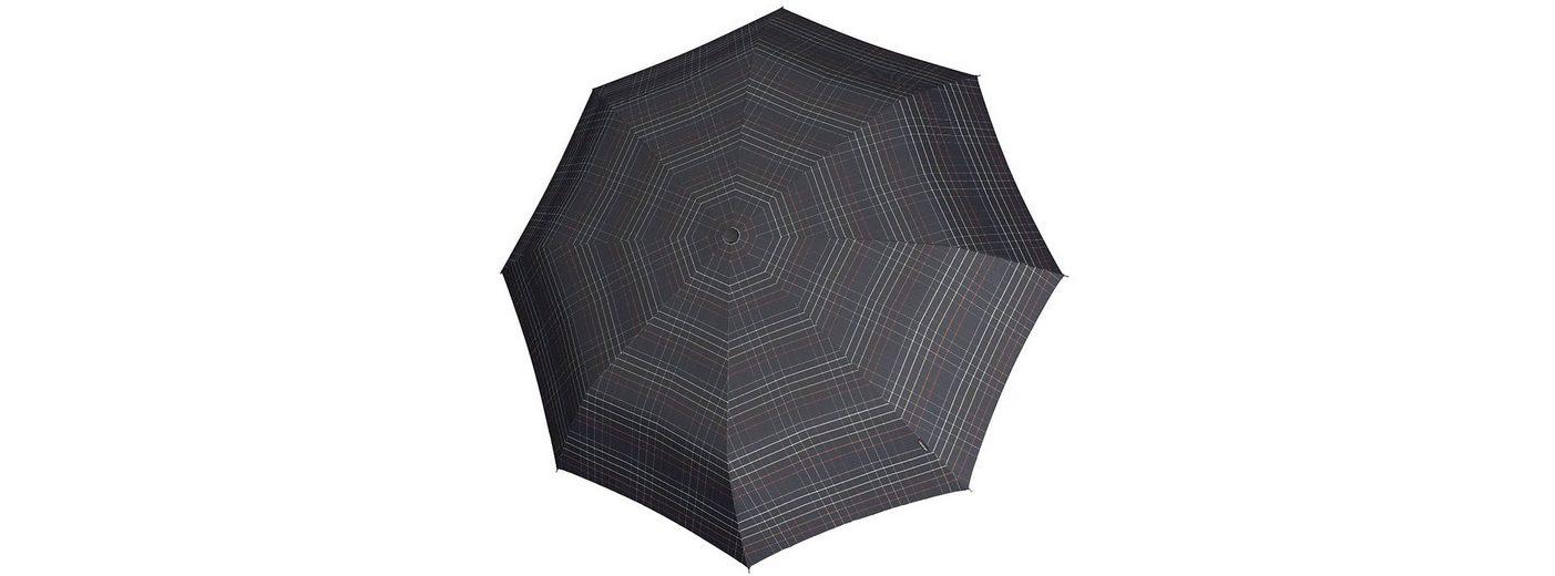 Knirps Regenschirm mit Holzgriff, »Topmatic SL Crook - Karo Schwarz«