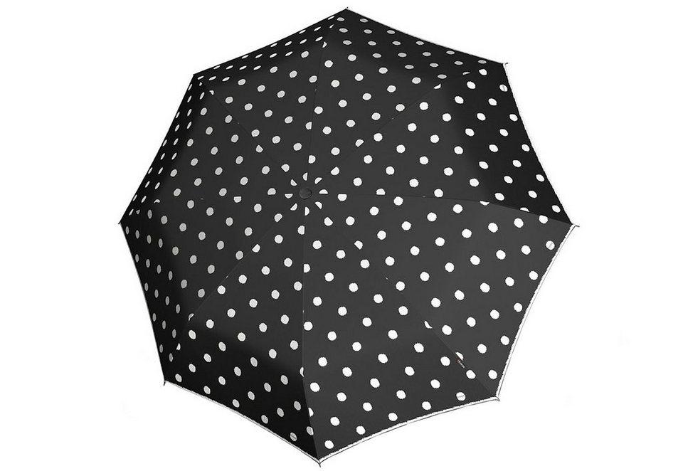 Knirps Regenschirm, »Stick Langschirm Automatik - Punkte schwarz« in schwarz