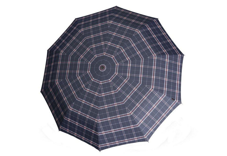 Knirps Regenschirm, »Long Automatik - Karo blau« in bunt