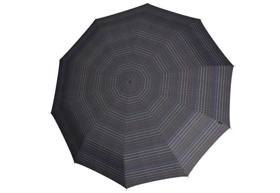 Knirps Regenschirm, »Long Automatik - Karo schwarz« in bunt