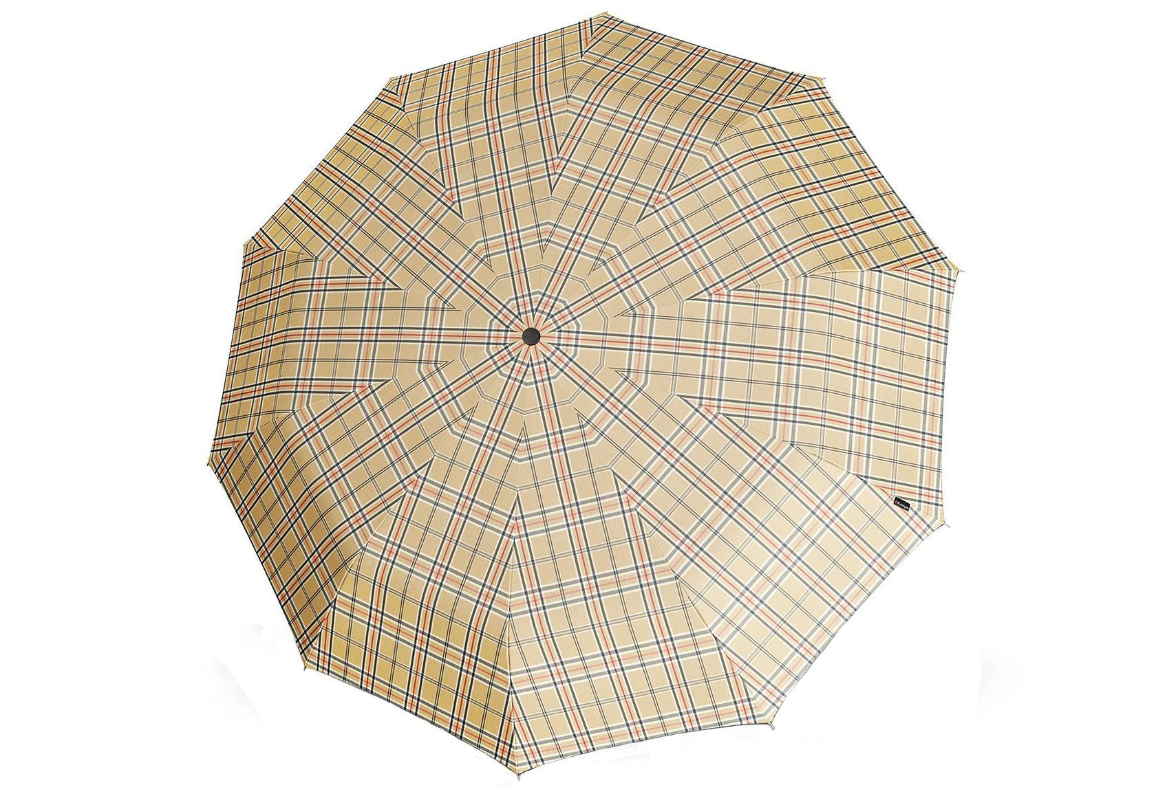 Knirps Regenschirm, »Long Automatik - Karo beige«