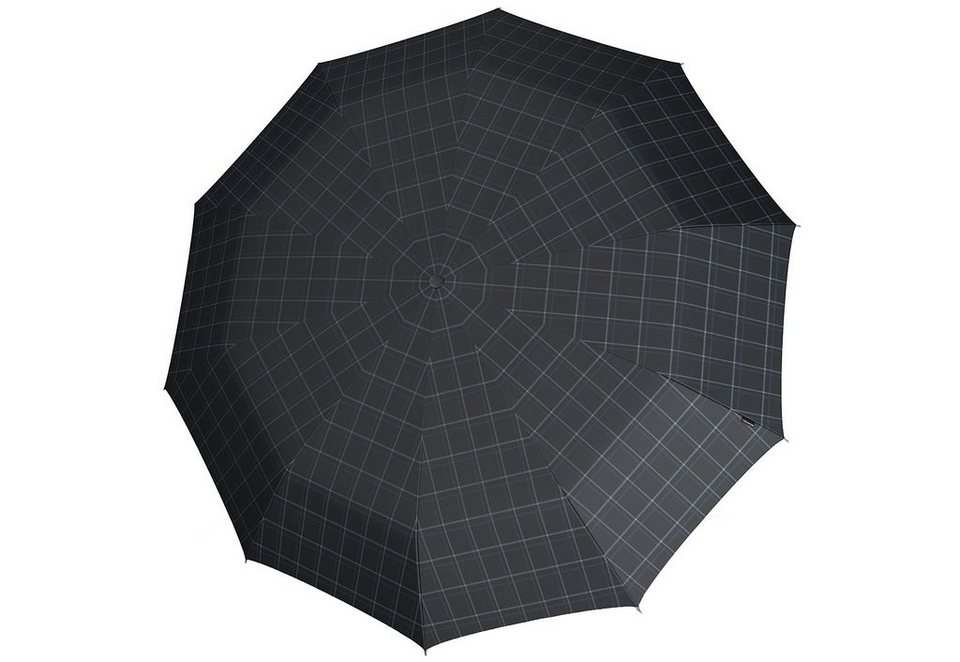 Knirps Regenschirm, »Long Automatik - Karo schwarz/grau« in bunt