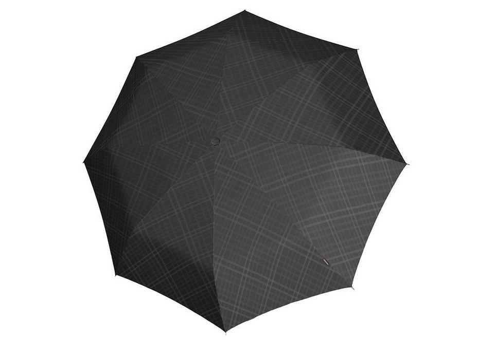 Knirps Taschenschirm, »T2 Duomatic - Karo schwarz/grau« in bunt