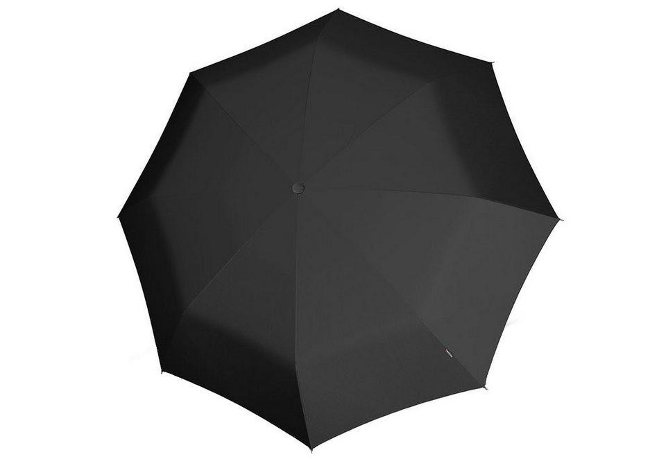 Knirps Taschenschirm, »T2 Duomatic - Uni schwarz« in schwarz