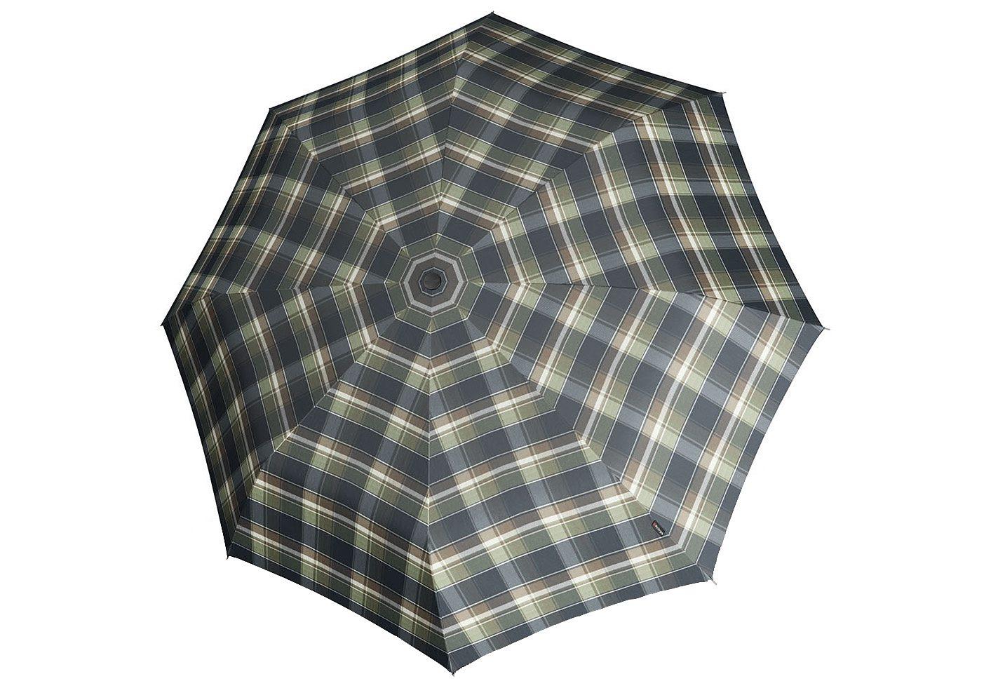 Knirps Regenschirm mit Holzgriff, »Topmatic SL Crook - Karo grün/blau«