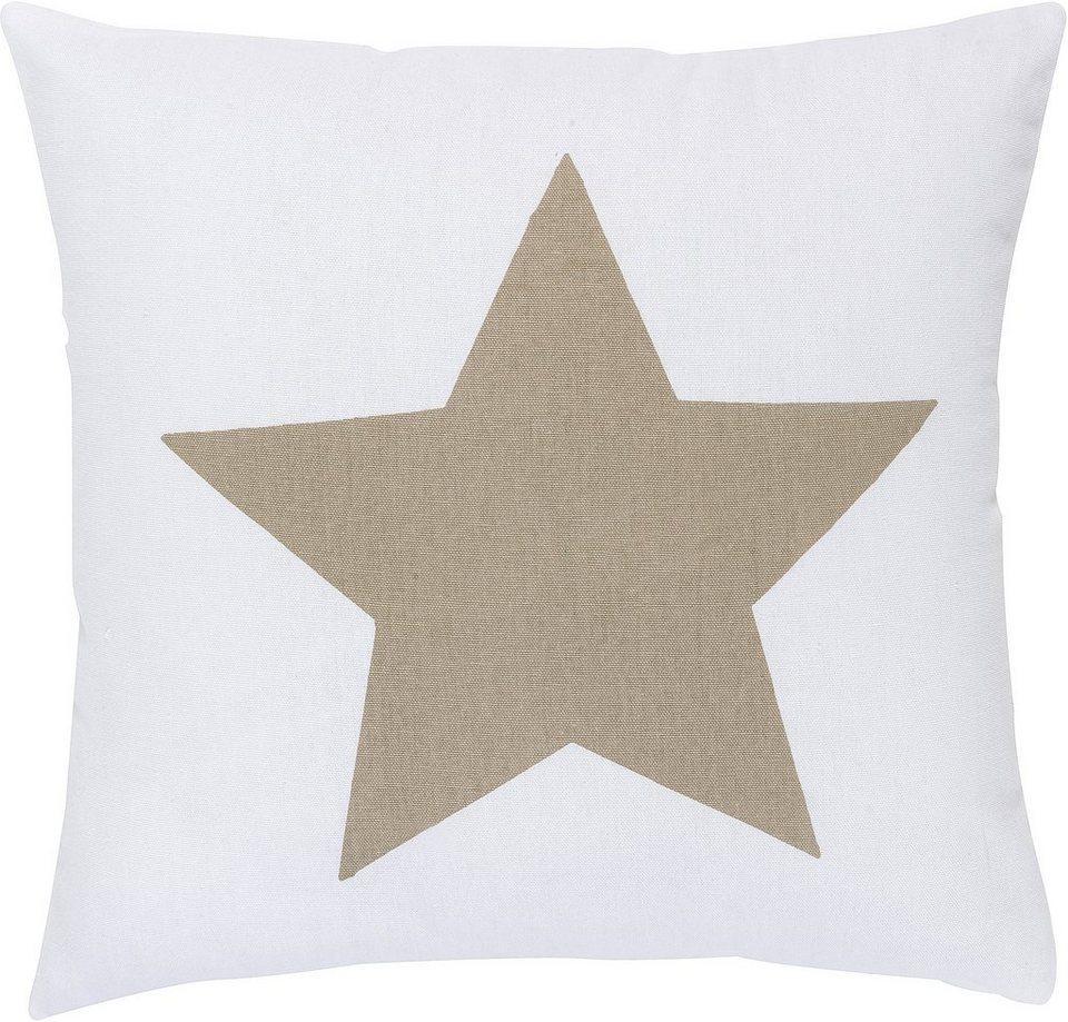 Kissen, Elbersdrucke, »BIG STAR« (1 Stück) in weiß-braun
