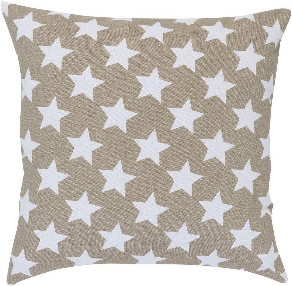 Kissen, Elbersdrucke, »STARS ALLOVER« (1 Stück) in braun-weiß