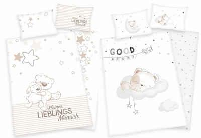 Babybettwäsche »Lieblingsmensch und Bär - 2 x Baby-Bettwäsche-Set mit Wendemotiv, 100x135 & 40x60 cm«, Baby Best, 100% Baumwolle