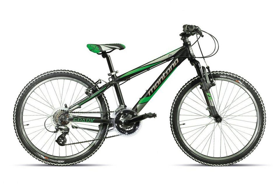 Jugendfahrrad MTB, 24 Zoll, schwarz-grün-grau, 21 Gang Shimano, »Spidy H 924-S«, Montana in schwarz-grün-grau
