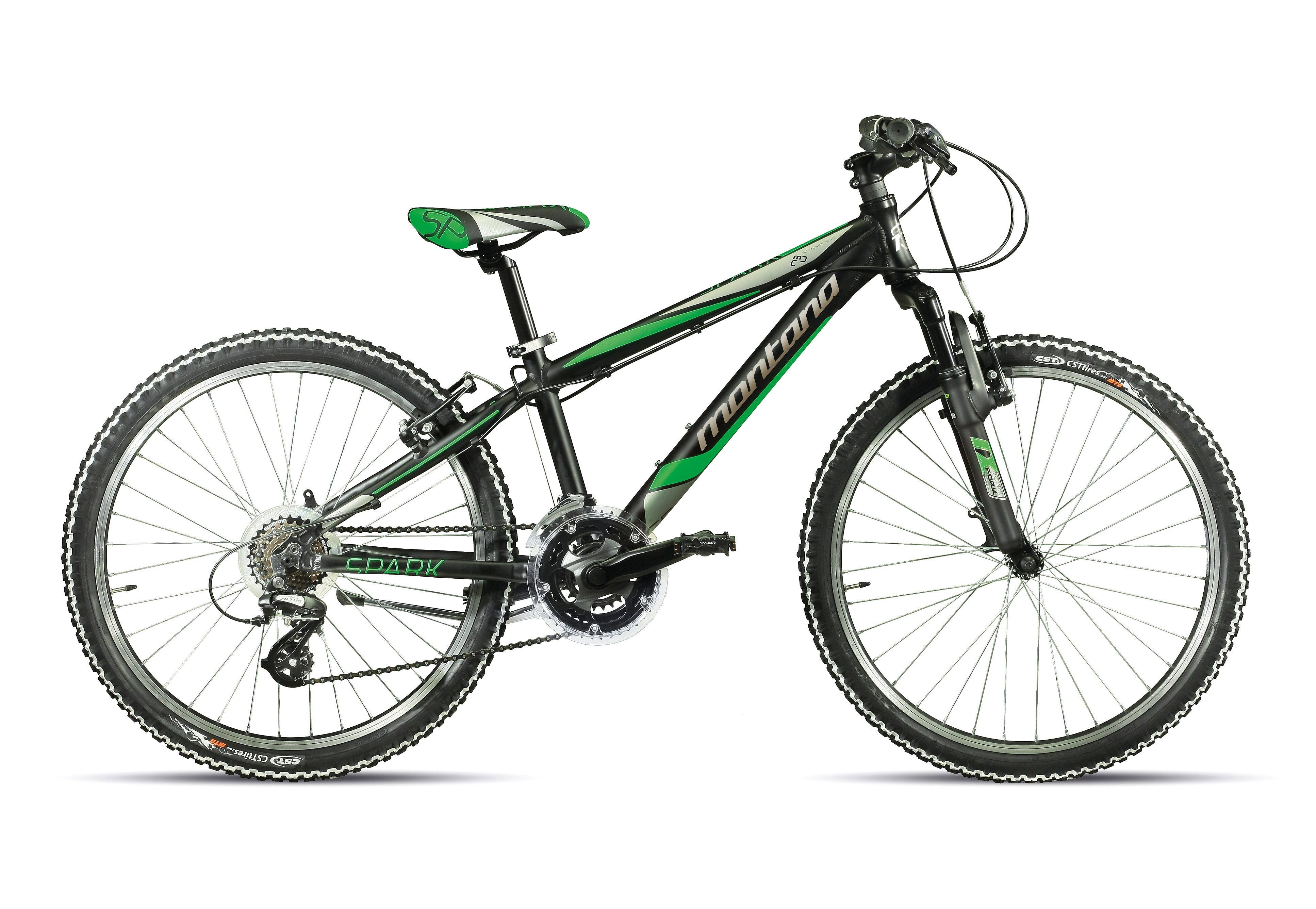 Jugendfahrrad MTB, 24 Zoll, schwarz-grün-grau, 21 Gang Shimano, »Spidy H 924-S«, Montana