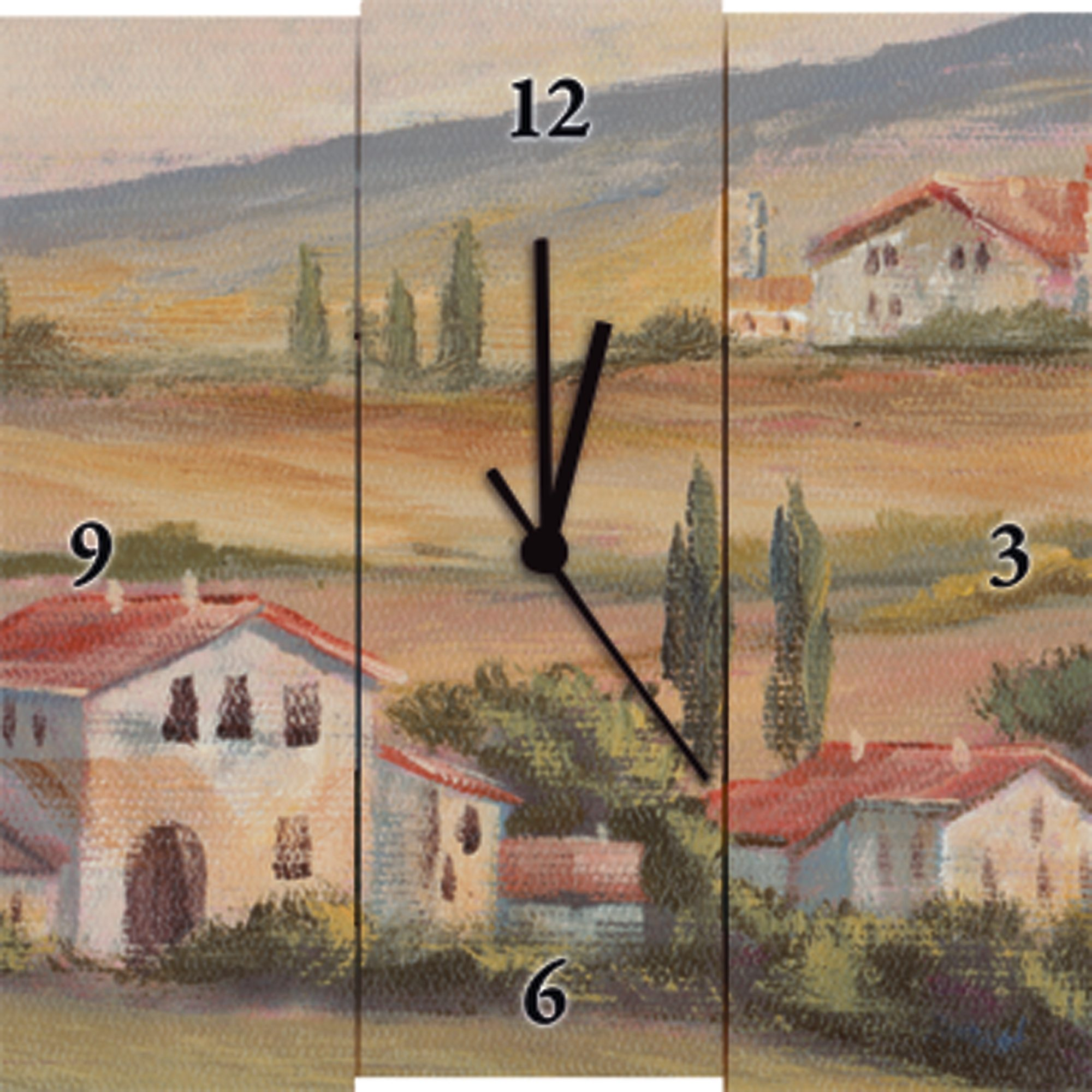 Wanduhr, Home affaire, »A. Heins: Toskanisches Tal I«, 30/30 cm