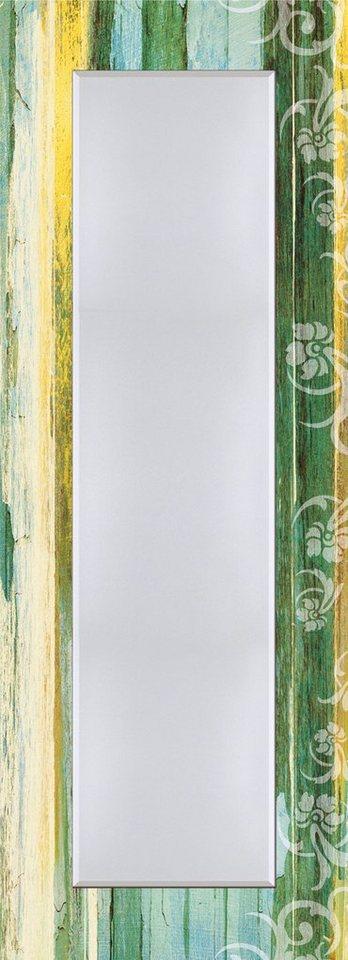 Wandspiegel, Home affaire, »Blumenornamente im modernen Stil«, 50/140 cm in Türkis