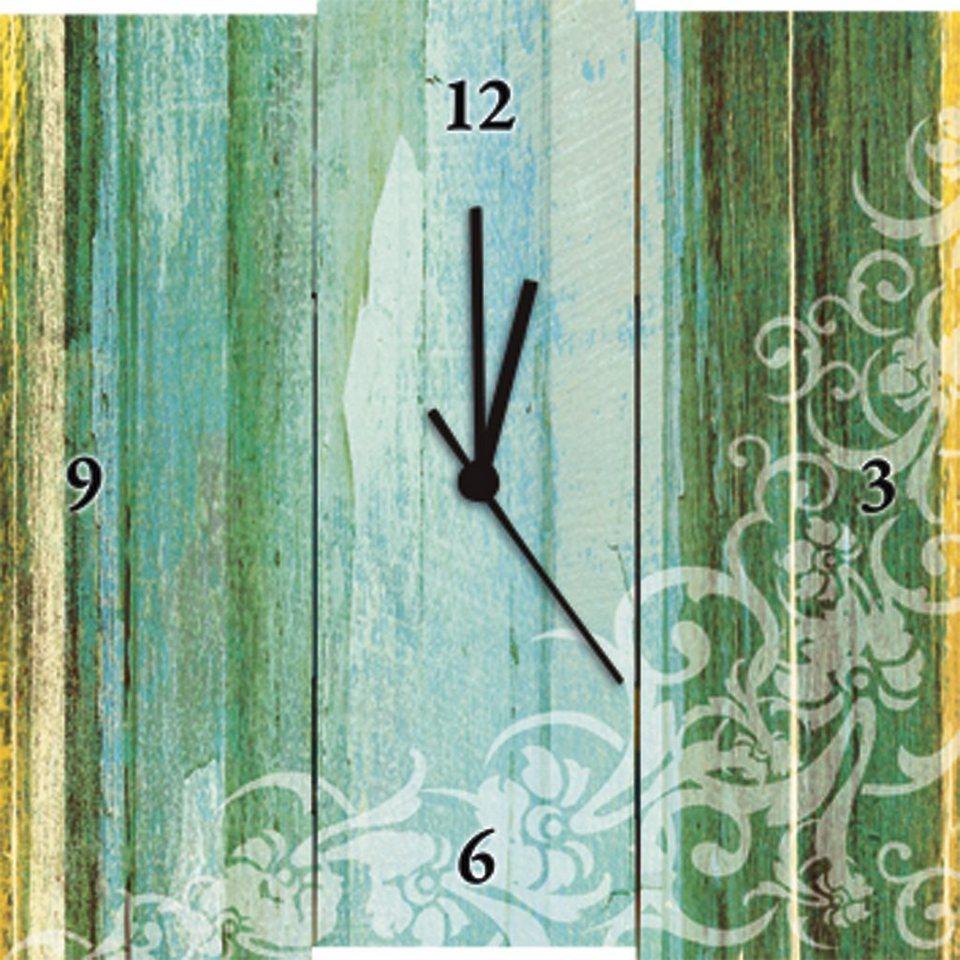 Wanduhr, Home affaire, »Blumenornamente im modernen Stil;F3;«, 30/30 cm in Türkis