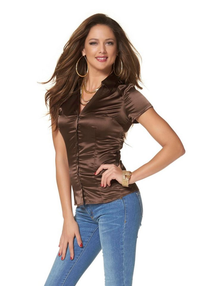 Melrose Satinbluse in braun