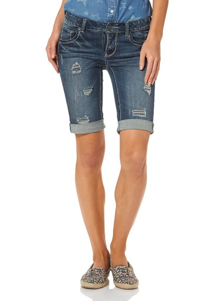 Arizona Jeansbermudas im Destroyed-Look in destroyed-Effekte
