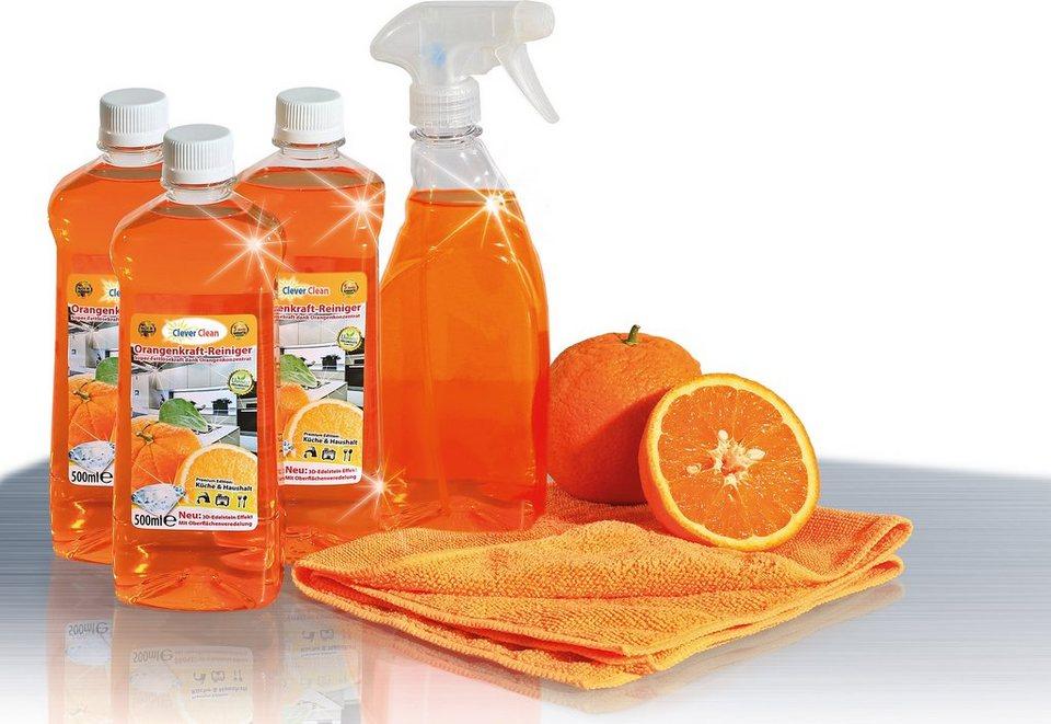 CleverClean® Orangenkraftreinigungs-Set (5tlg.) in orange