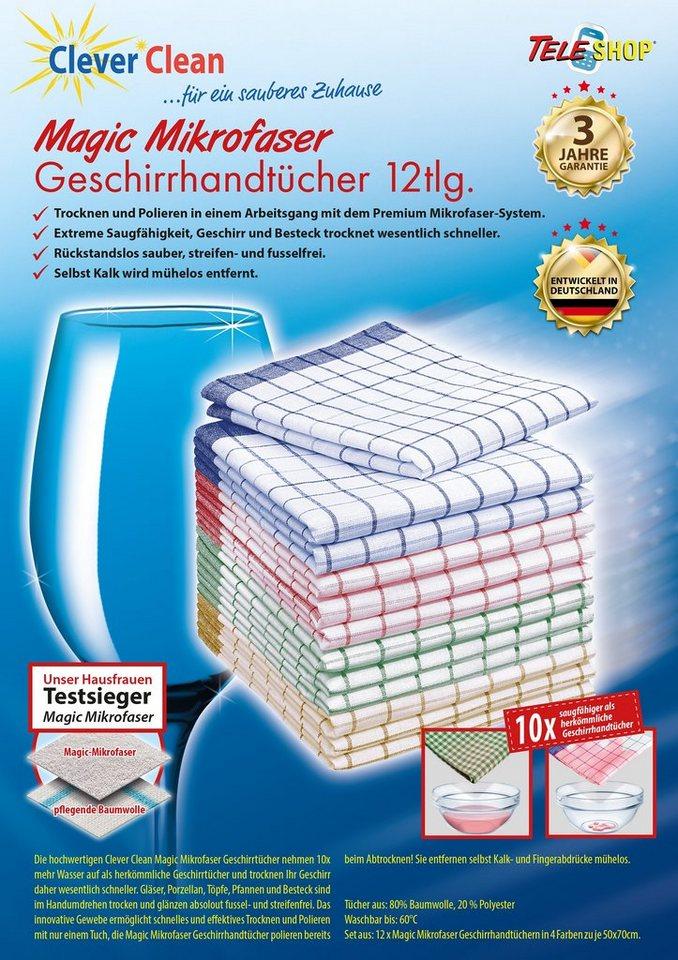 CleverClean®Magic Mikrofaser-Geschirrhandtücher (12tlg.) in bunt