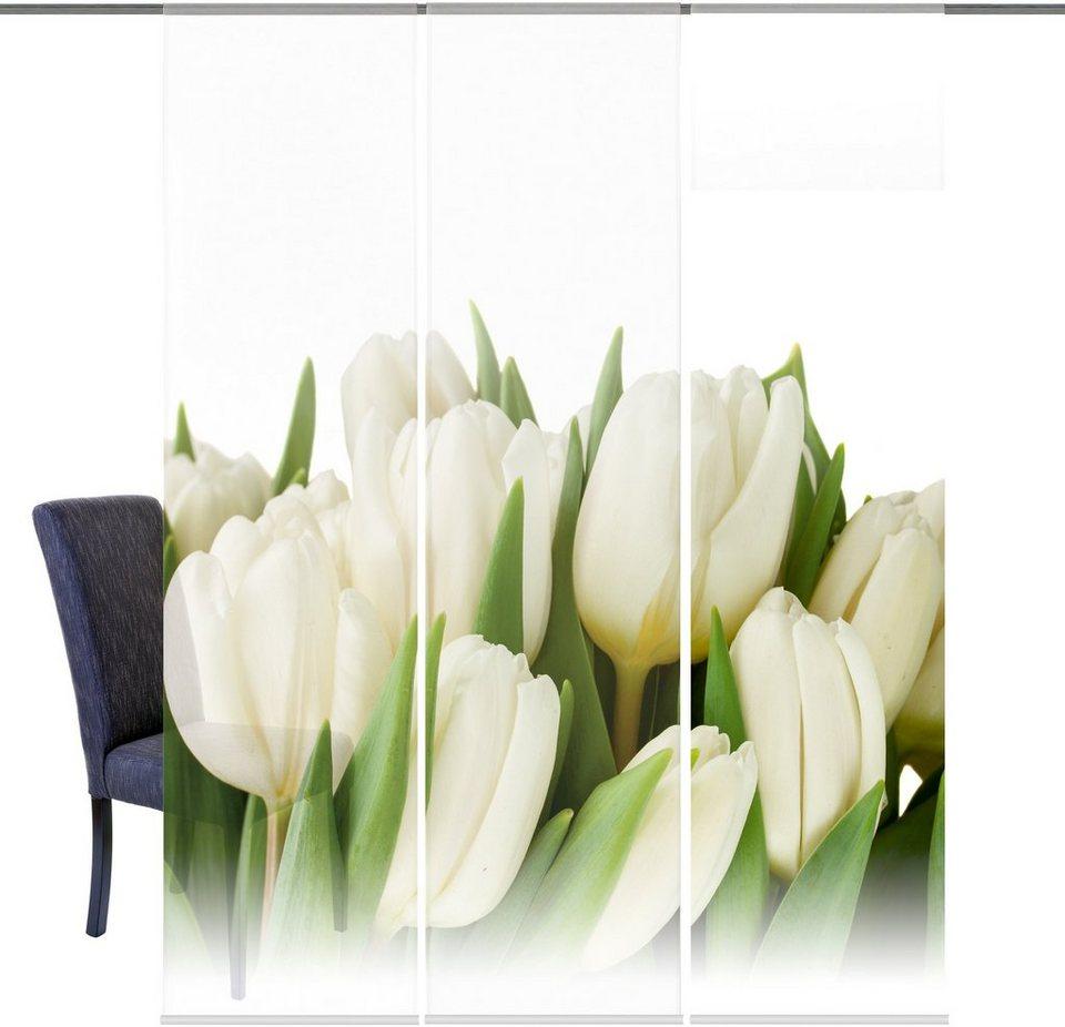 Schiebegardine, Home Wohnideen, »Errol«, mit Klettband (3 Stück mit Zubehör) in natur