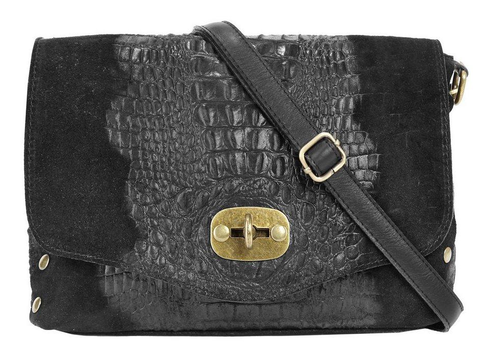 Forty degrees Leder Damen Umhängetasche mit eleganter Kroko-Prägung in schwarz