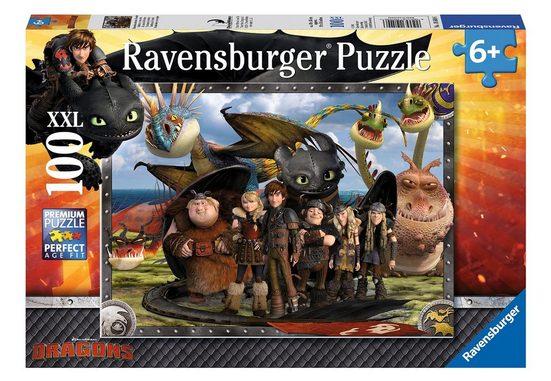 Ravensburger Puzzle »Dragons, Ohnezahn und seine Freunde«, 100 Puzzleteile, Made in Germany
