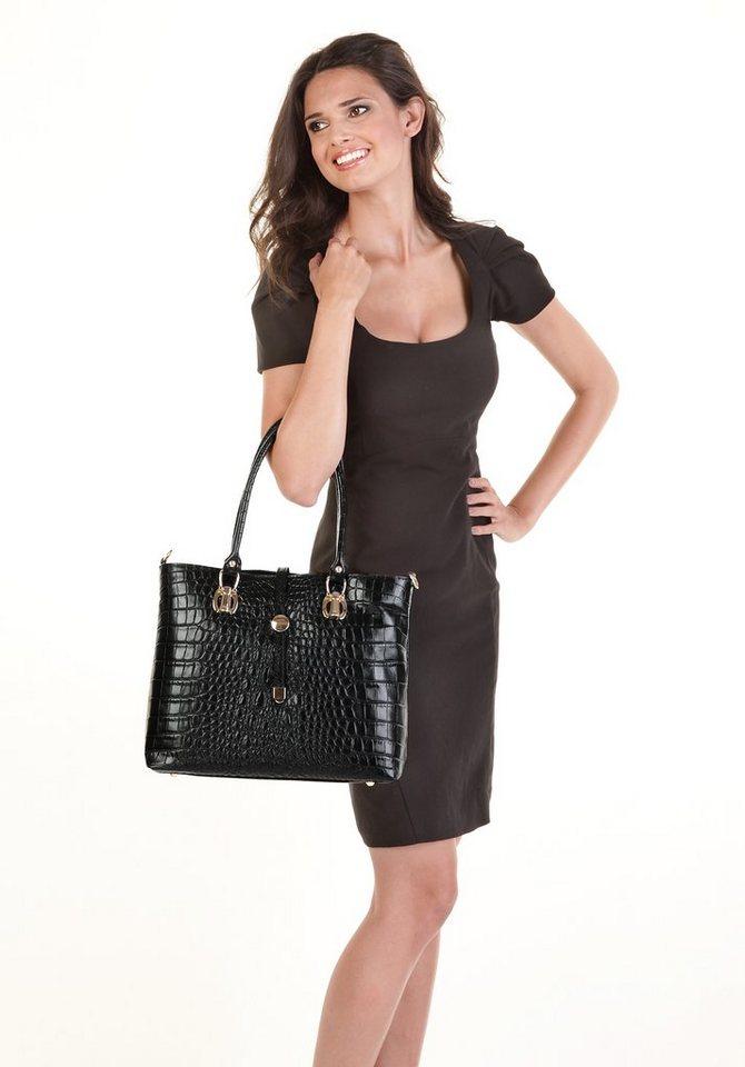 Cluty Leder Damen Handtasche Crocoprägung in schwarz