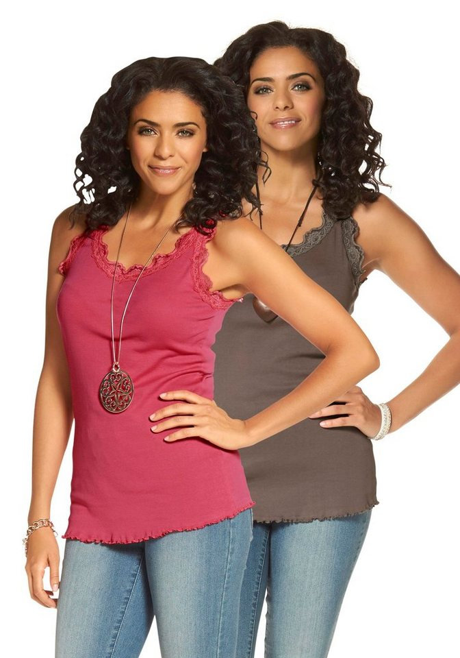 Boysen's Tanktop mit Spitze (Packung, 2er-Pack) in beere+taupe