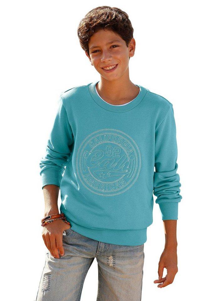 Arizona Sweatshirt mit großer Stickerei vorne in hellpetrol