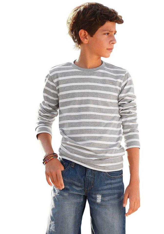 CFL Langarmshirt in grau-weiß-gestreift