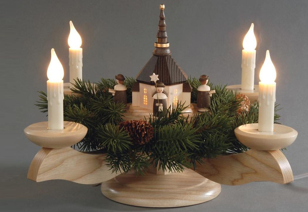 Adventsleuchter, natur Seiffener Kirche mit Kurrende, Albin Preißler