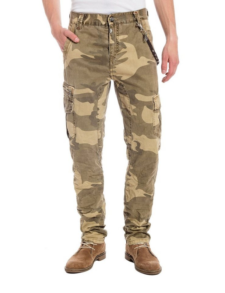 TIMEZONE Hosen lang »DuncanTZ 3D traveller pants incl. chain« in beige camo