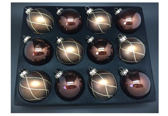 Thüringer Glasdesign Weihnachtsbaumkugel (12 Stück), Handdekoriert mit Rautennetz