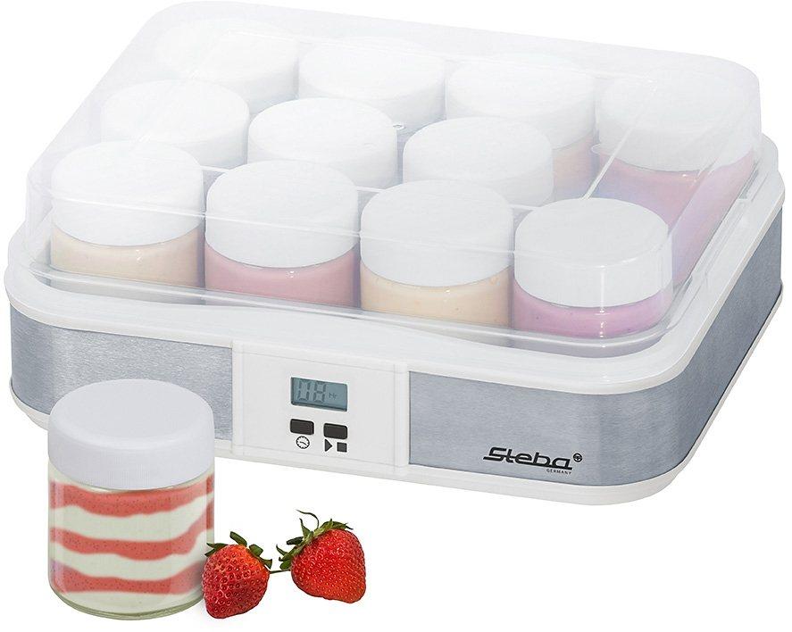 Steba Joghurtmaker JM 2 mit 12 Glas-Joghurtbechern in Edelstahl