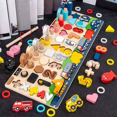 Arkmiido Lernspielzeug »Montessori Holznummern Puzzle Set«, Mathe Zahl Farbe Form Sortierbrett