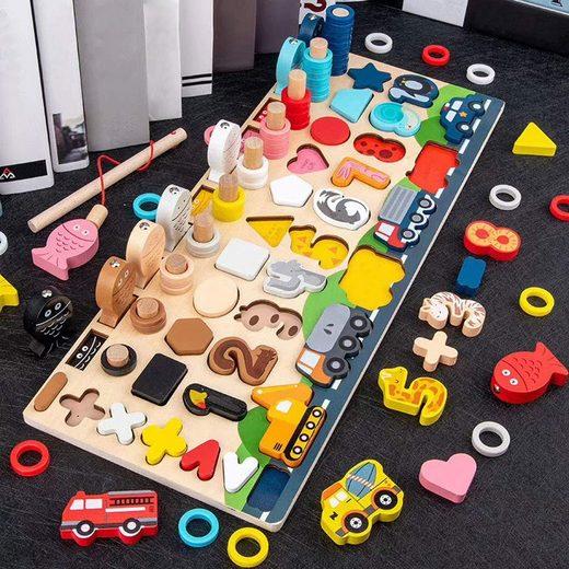 Arkmiido Lernspielzeug »Montessori Holznummern Puzzle Set« (Holz Spielzeug für Junge, Mädchen), Mathe Zahl Farbe Form Sortierbrett