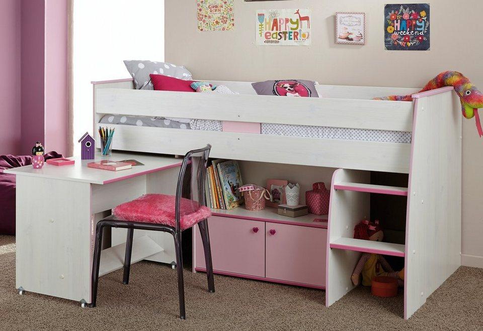 Parisot Halbhohes Bett in Kiefern Nachbildung weiß/pink