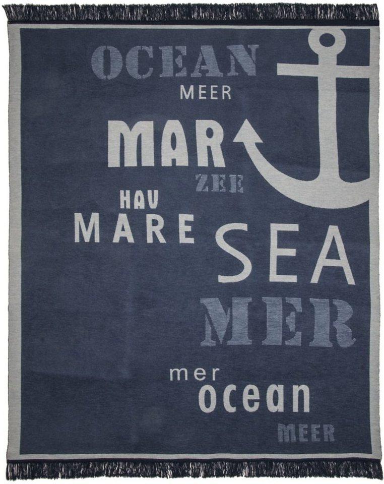 Wohndecke, Pad, »Sea«, maritimes Motiv in blau