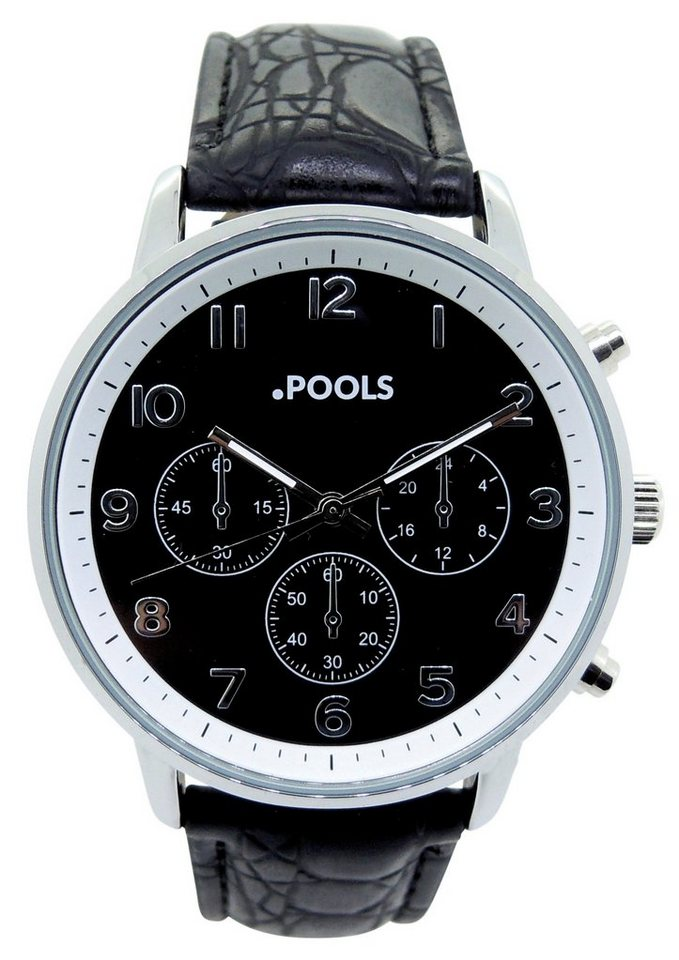 POOLS Quarzuhr »3046« in Chrono-Optik in schwarz