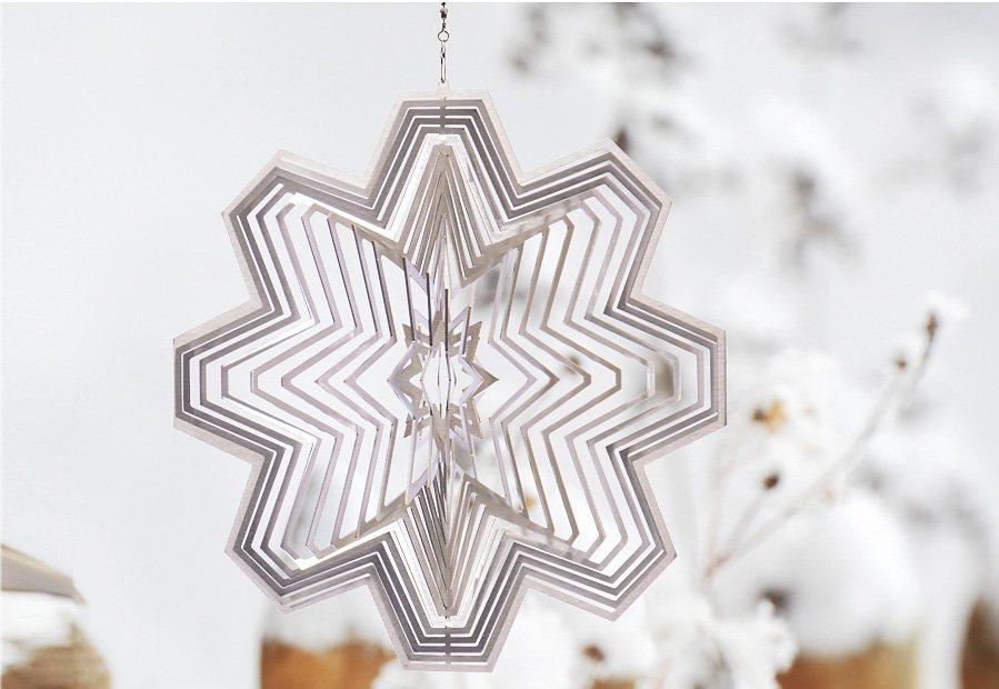 Windspiel, »Schneekristall«, ILLUMINO in silberfarben