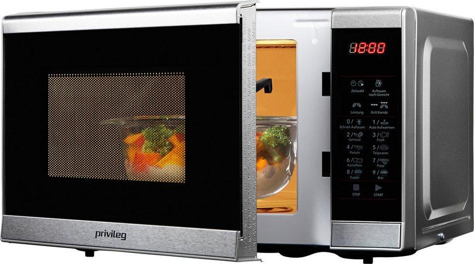 Privileg Mikrowelle, mit Quarz-Grill, 20 Liter Garraum, 1000 Watt in silberfarben