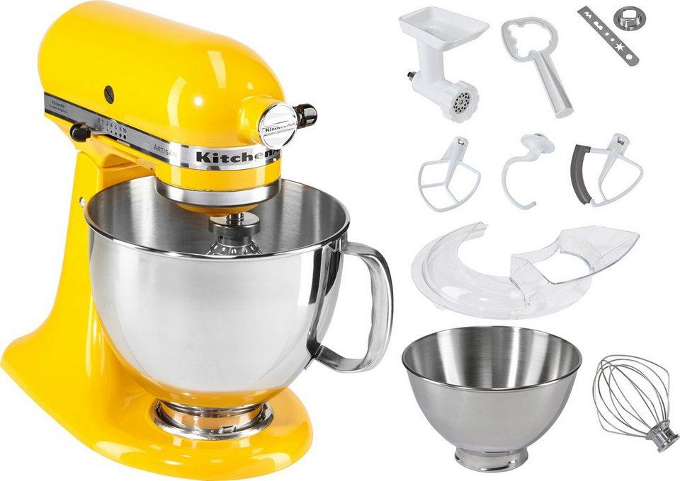 KitchenAid Küchenmaschine 5KSM150SEYP Artisan, mit Sonderzubehör im Wert von ca. 214,-€, gelb in sonnenblumengelb