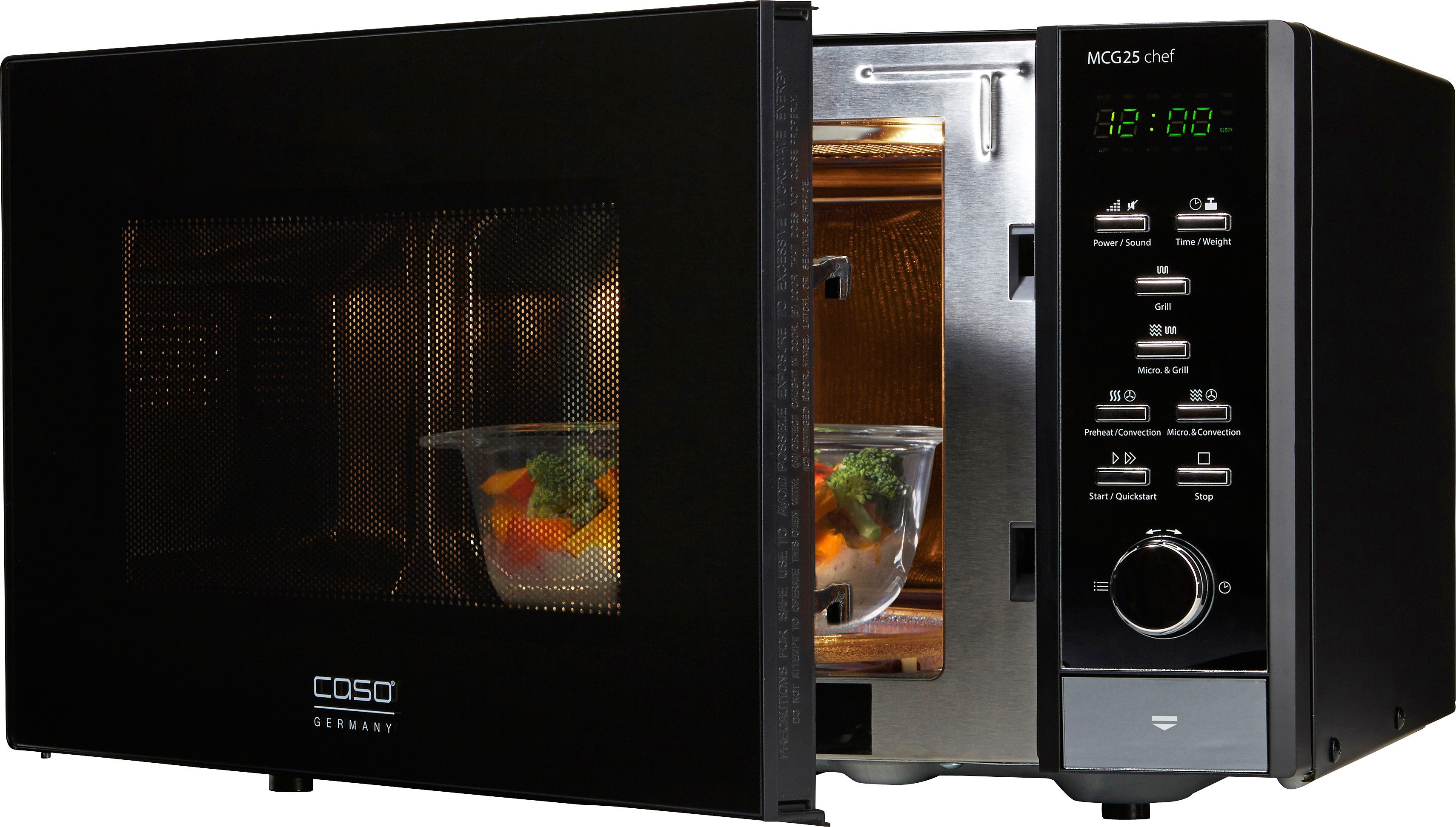 CASO Design Mikrowelle MCG25 Chef Black, mit Grill und Heißluft, 25 Liter Garraum, 900 Watt
