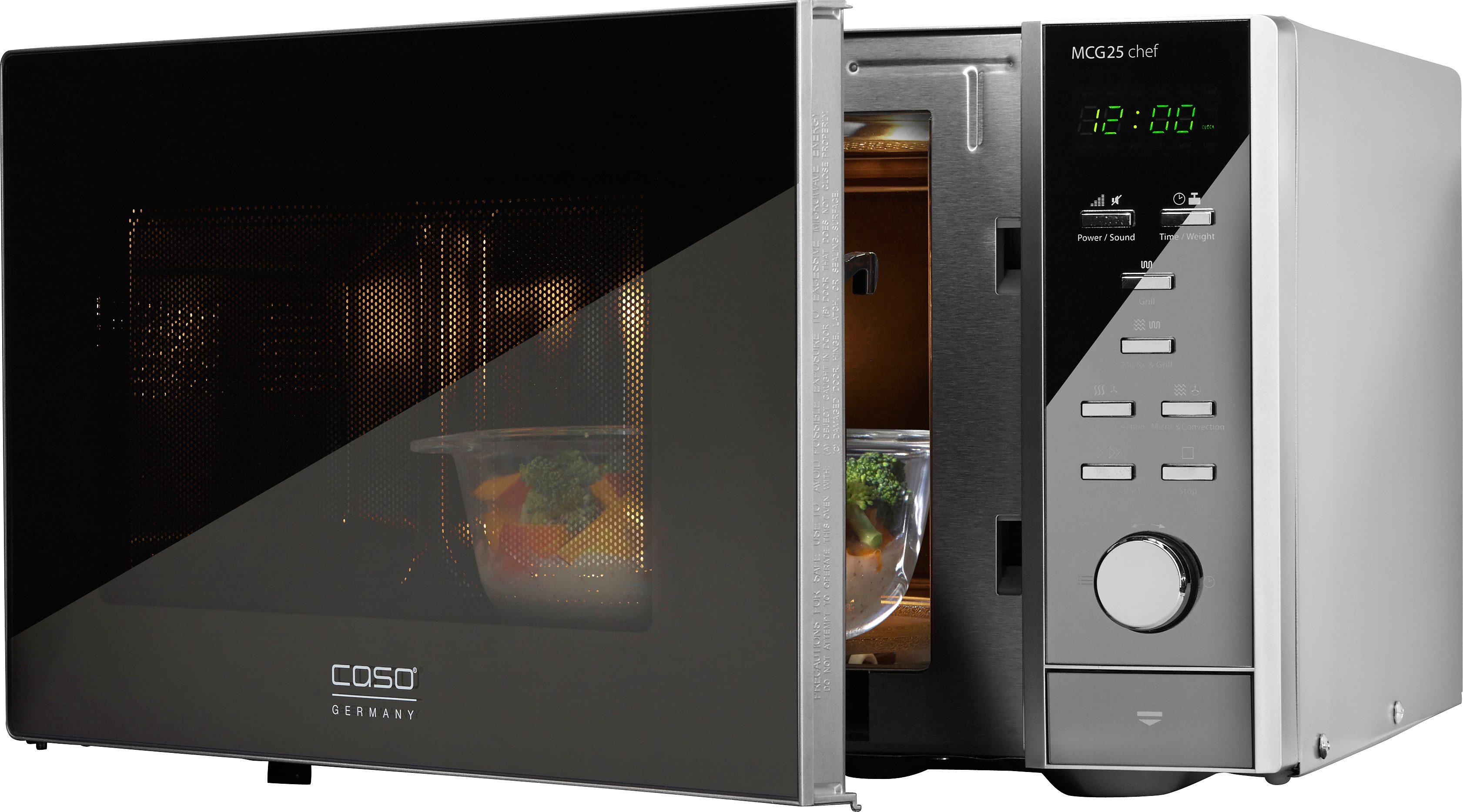 CASO Design Mikrowelle MCG25 Chef, mit Grill und Heißluft, 25 Liter Garraum, 900 Watt