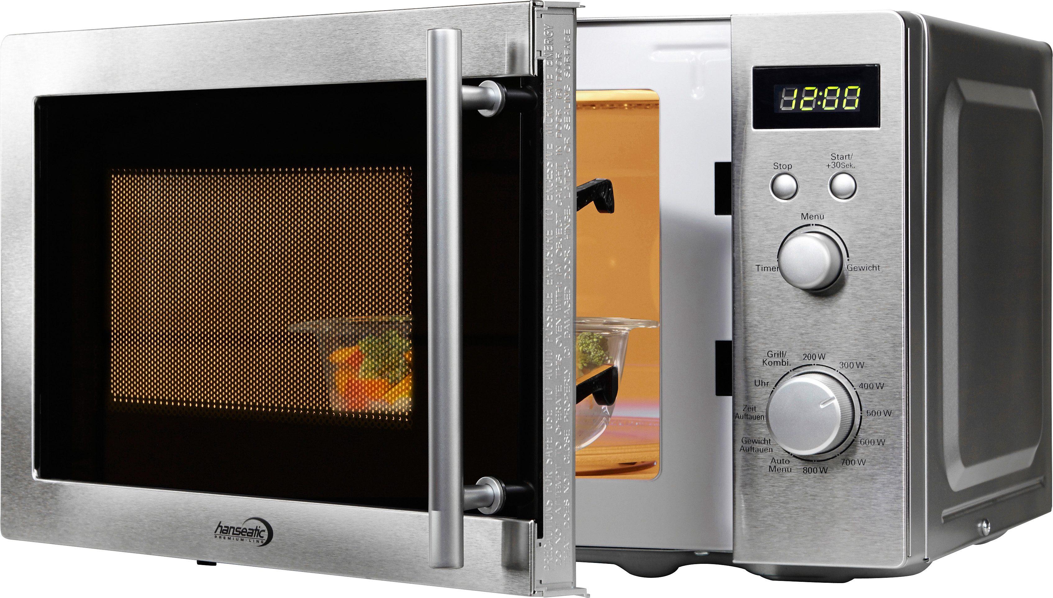 hanseatic Premium-Line Mikrowelle, mit Grillfunktion, 20 Liter Garraum, 800 Watt, 7 Leistungsstufen