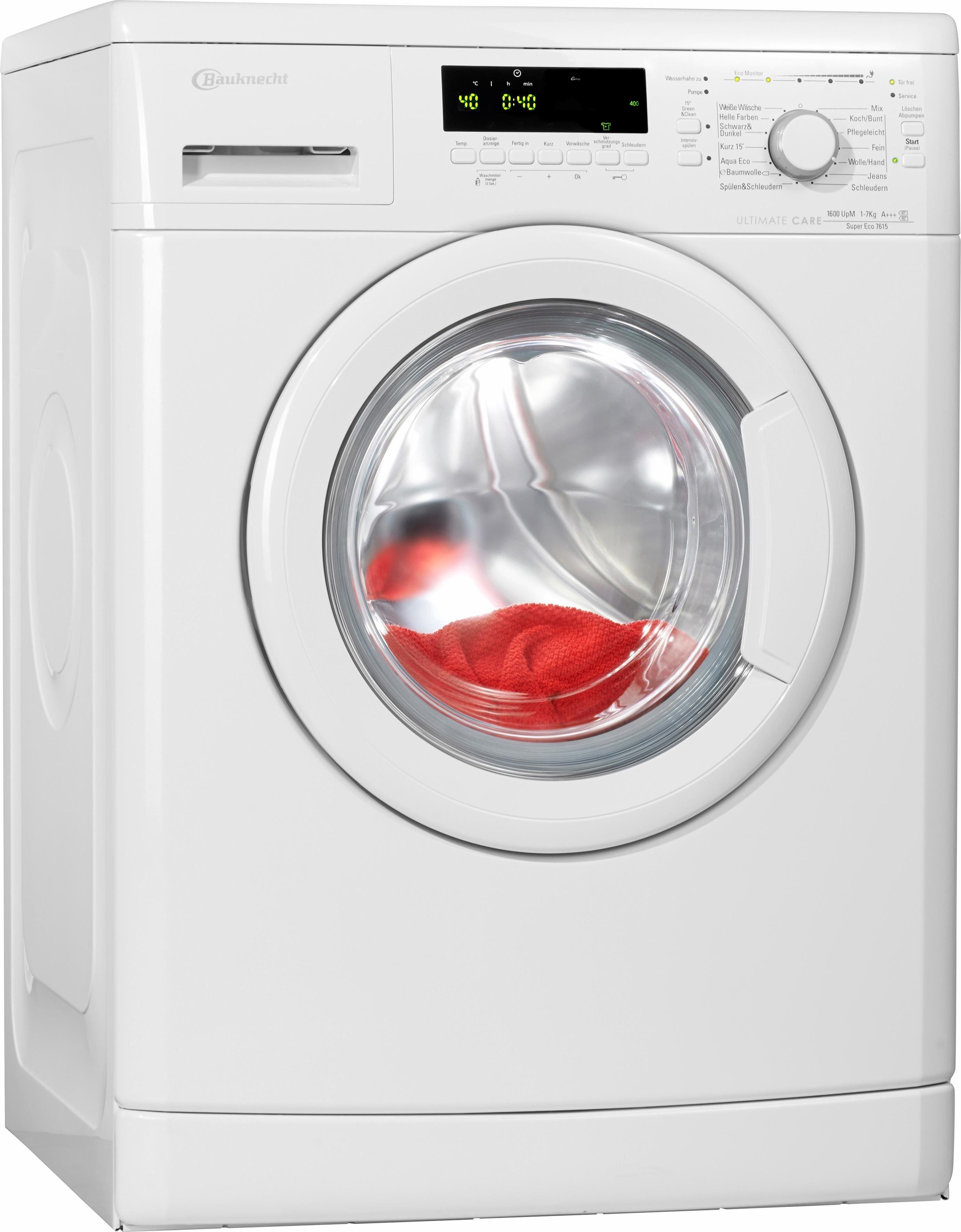 BAUKNECHT Waschmaschine Super Eco 7615, 7 kg, 1600 U/Min