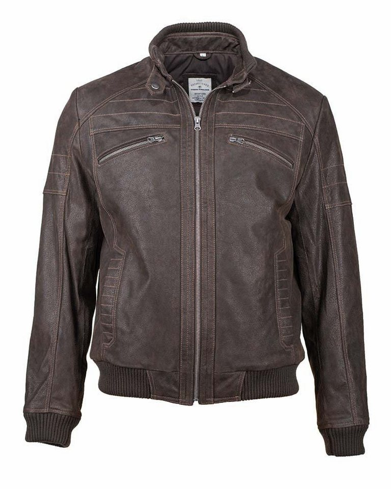 TOM TAILOR Lederjacke, Herren »Pan« in dark brown